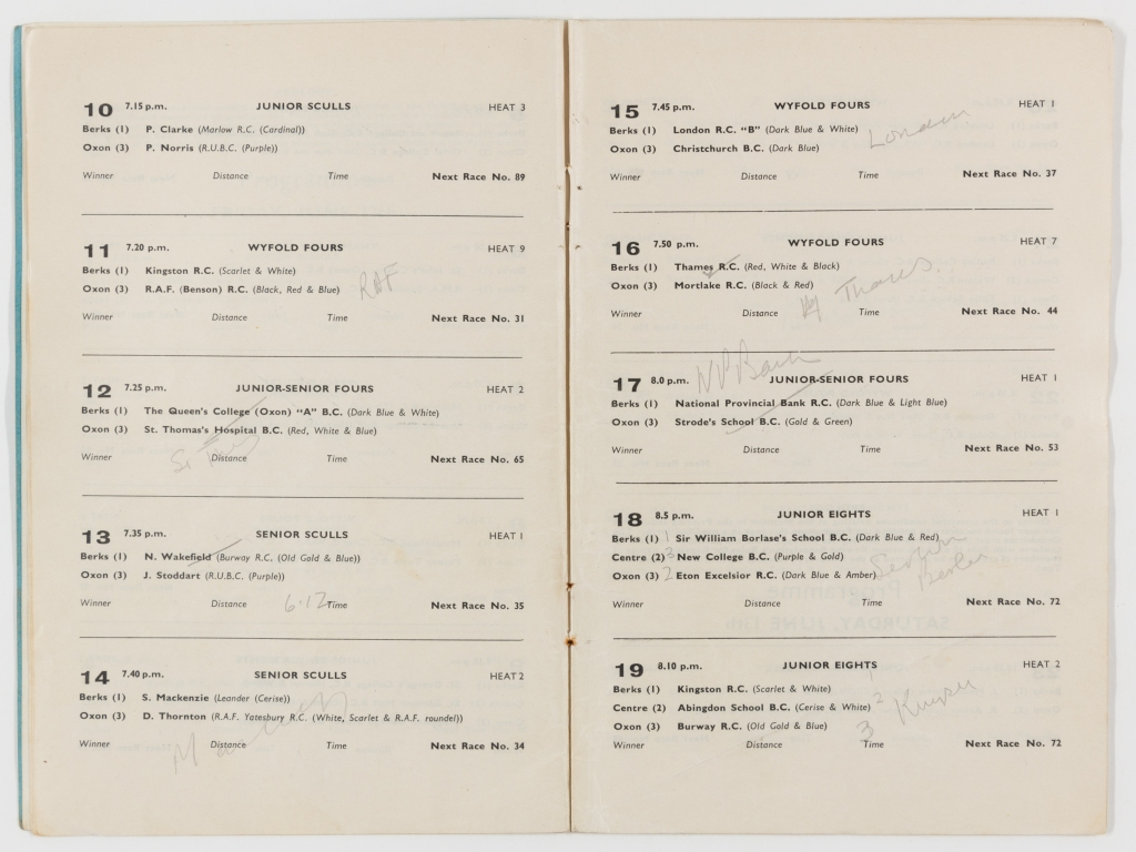Double page of the official programme for Reading Regatta 1959 showing the schedule of events ten to nineteen including information on the type of race, time of race, team, contestant, and heat number.