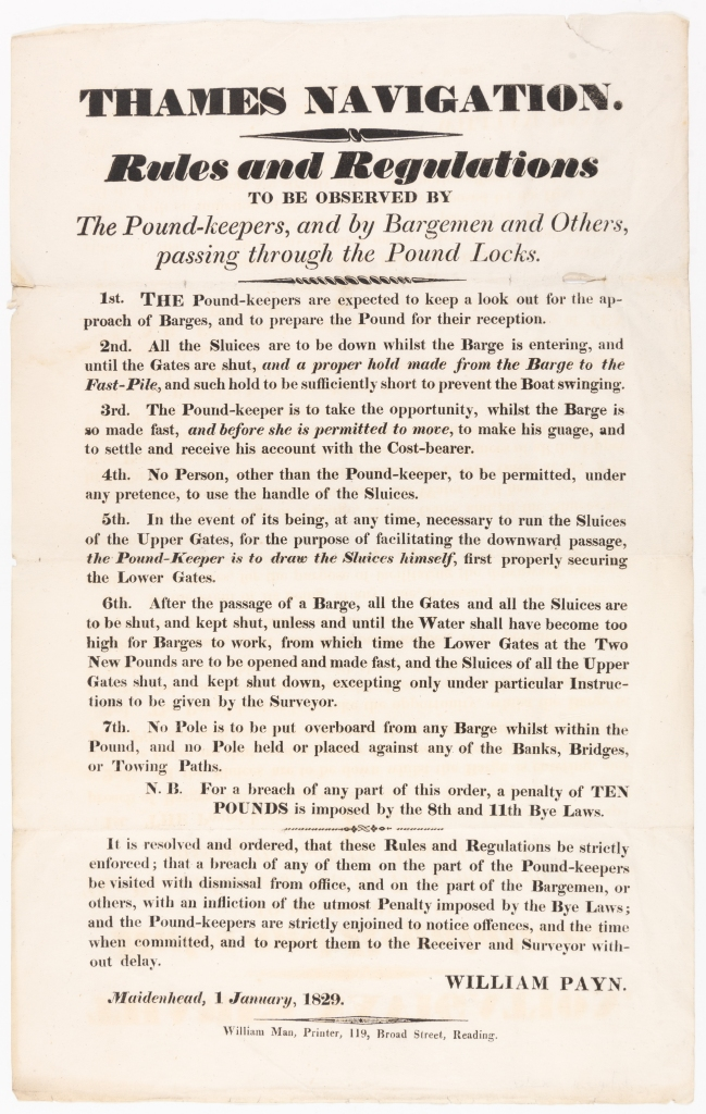 Printed poster outlining seven rules and regulations for the operation of pound locks on the Thames Navigation.