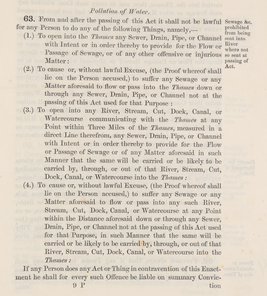 Extract from the Thames Navigation Act 1866, point 63, outlying prohibited actions which could lead to the pollution of water.