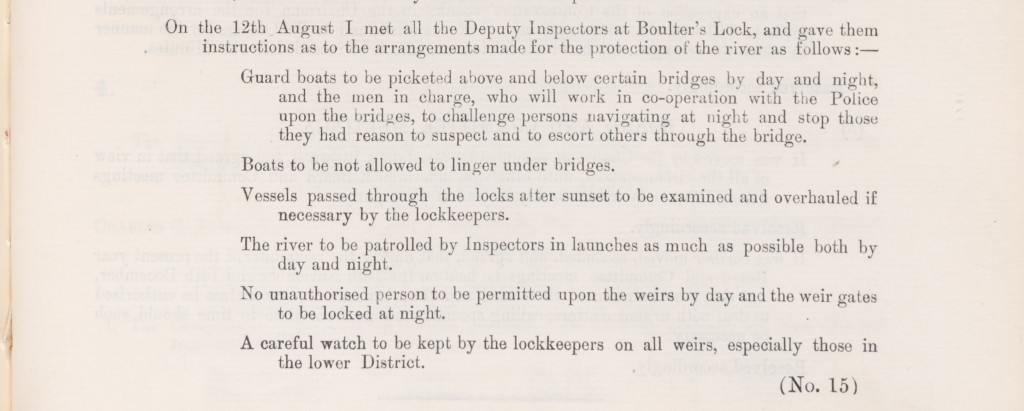 Printed minutes regarding instructions for protecting the river Thames. Includes examination of vessels, guard boats on patrol, and lockkeepers on watch.