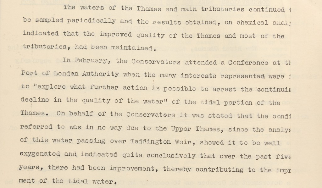 Typescript extract from the report to Parliament concerning analysis of the water quality in the River Thames. Conservators stated that tests carried out on the water passing over Teddington Weir indicated that water quality had improved over five years.