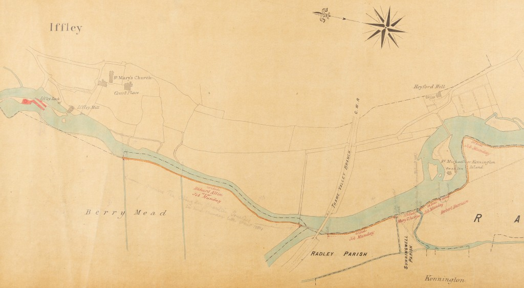 Colour plan showing Iffley, Iffley Lock, Iffley Mill, St Mary's Church, Court Place, Berry Mead, Radley, Sunningwell, Kennington, St Michael or Kennington Island, Swan Inn, and Heyford Hill.