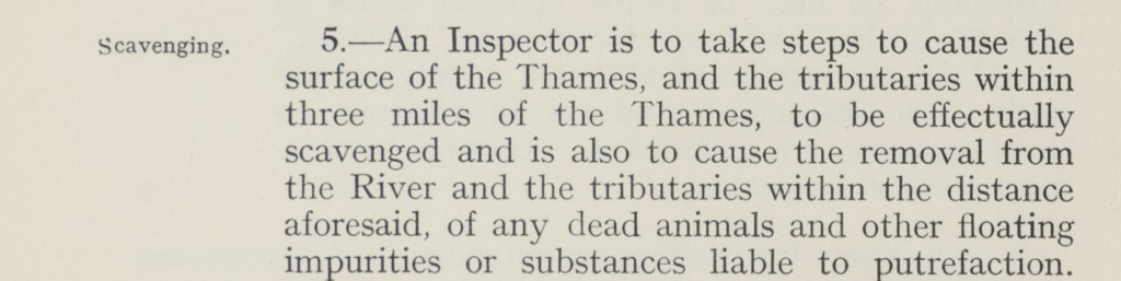 Extract of the booklet of general instructions to inspectors and assistant inspectors of the river purification service showing point 5. Scavenging in which an inspector must take steps to remove any substances from the river which may cause putrefaction.