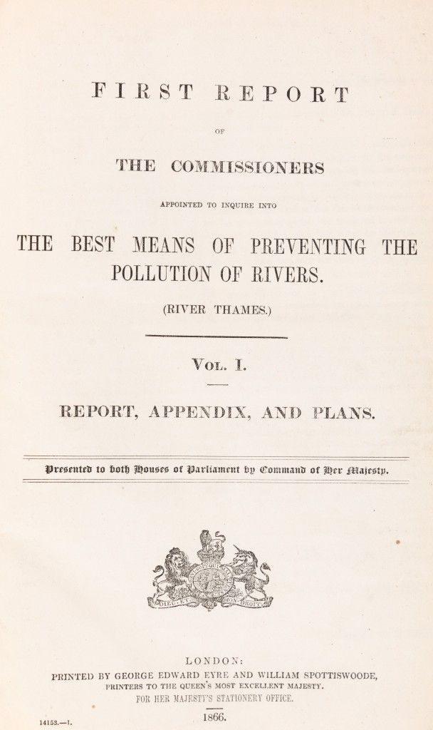 Typescript covering page of thereport of theRoyal Commissionappointed to inquire into the best means of preventing the pollution of rivers.