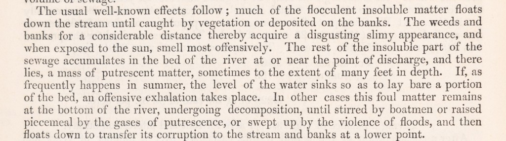 Typescript extract from thereport of theRoyal Commissionappointed to inquire into the best means of preventing the pollution of rivers which discusses the lack of upkeep of vegetation on the riverbanks and bottom of the river.