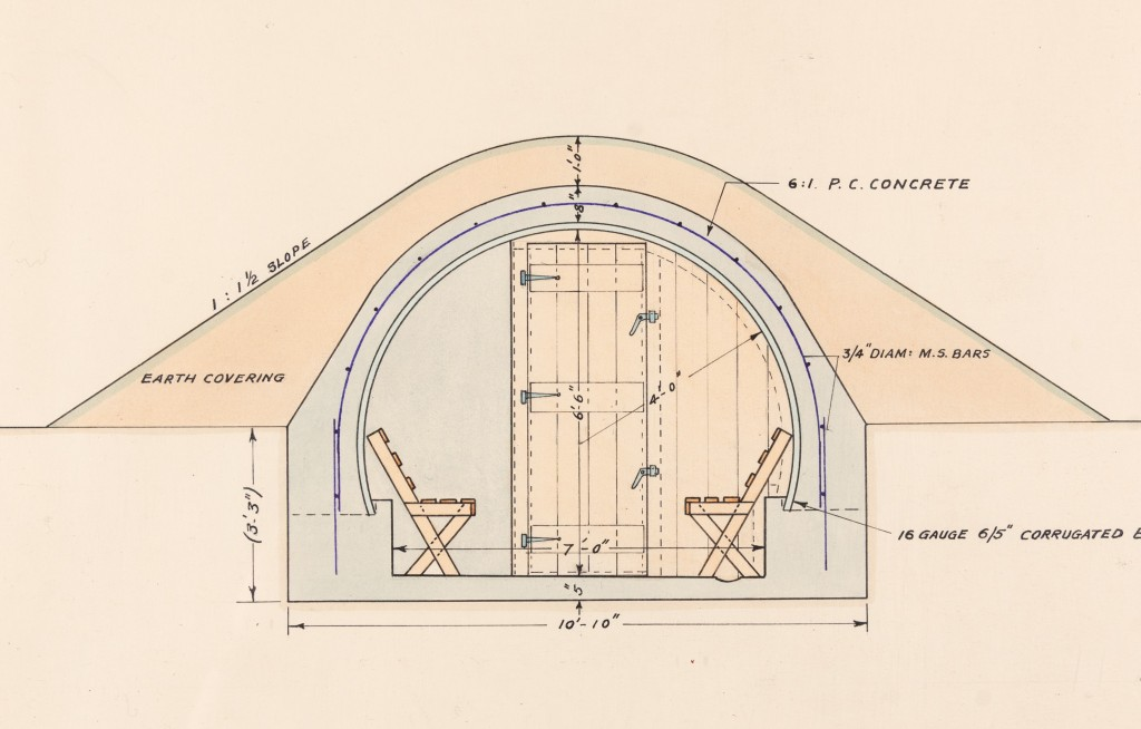 Colour plan of an air raid shelter, showing the entrance door, benches inside and the earth covering overhead.