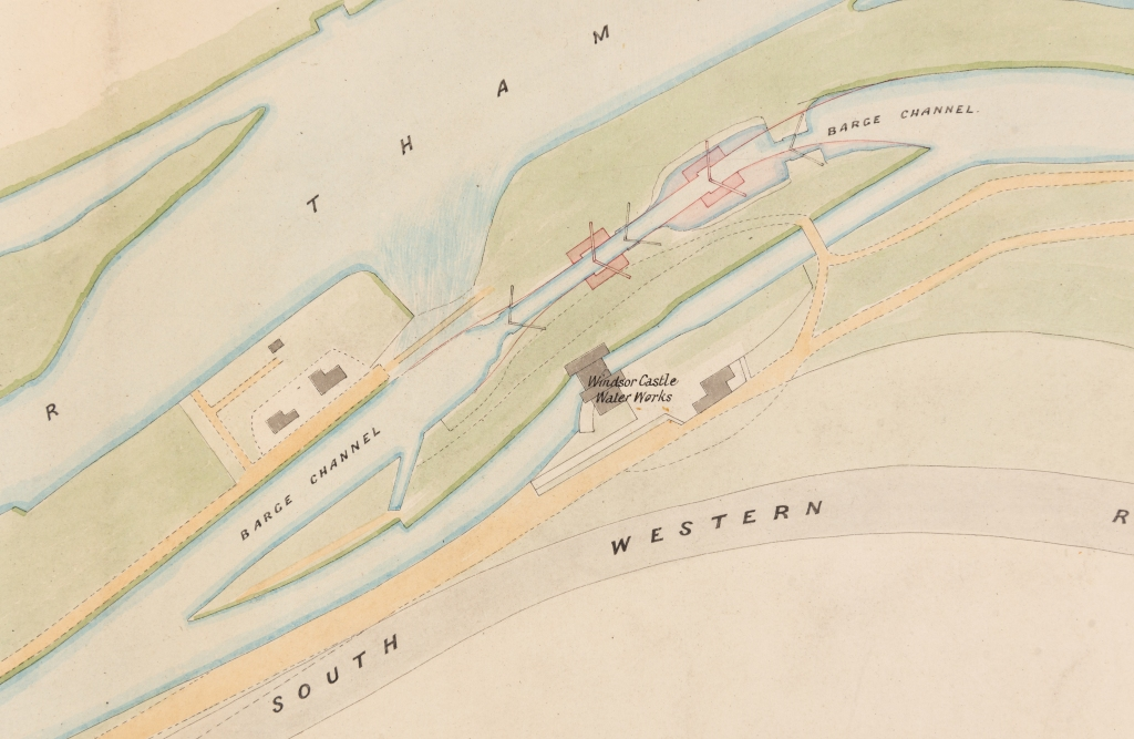 Coloured plan of Romney lock, showing proposed new lock.