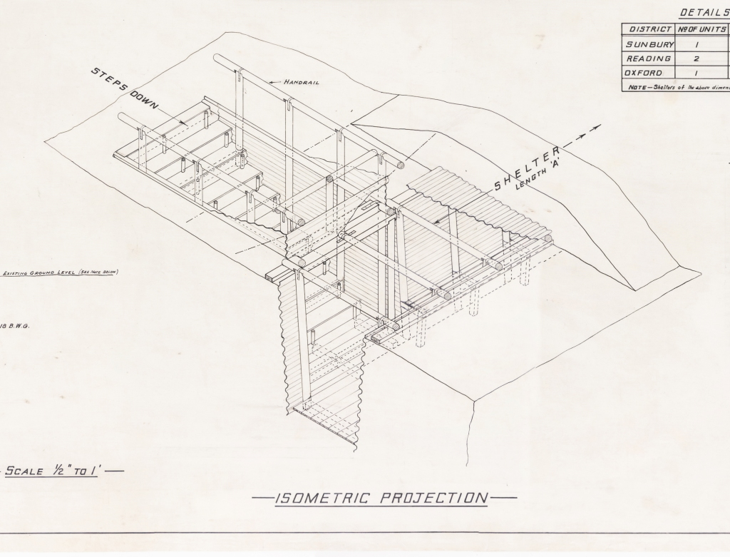 Black and white line drawing of an isometric projection of an underground shelter. Shows steps down and entrance area.