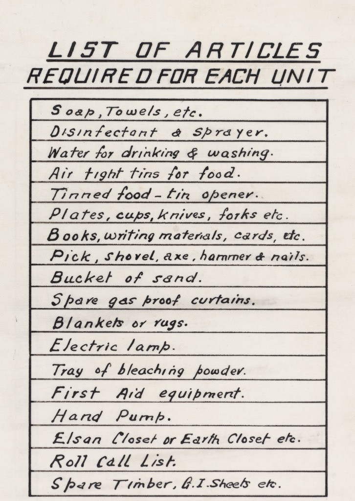 Table titled 'list of articles required for each unit'. Includes soap, towels, disinfectant, water for drinking & washing, tinned food, plates, cutlery, books, writing material, tools, sand, spare gas proof curtains, blankets, electric lamp, first aid equipment, Elsan or Earth Closet, roll call list, and timber.