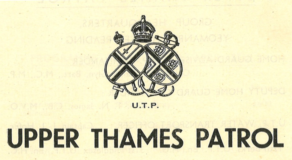 The symbol of the Upper Thames Patrol depicting two overlapping circular shields with crosses on the front in the foreground, one with a sword on it and the other with sailboats on it. In the background is an anchor, rope, a sceptre and a sword. Above the shields is a crown and below is 'U.T.P'.
