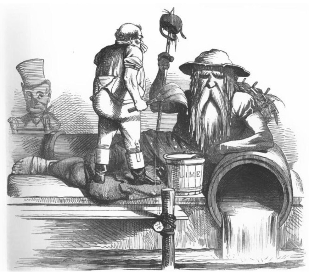 Black and white drawing of a large old, bearded man with a tin bucket hat representing 'Father Thames' leans his forearm on a water pipe with water flowing out, a smaller individual stood facing him holds a paint brush and has a bucket which reads: Lime. In the background is a clown like person with a top hat and exaggerated nose on a ladder peering over the edge.