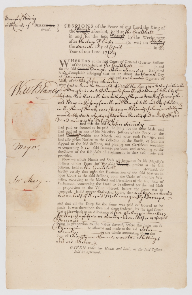 Extract of a court order against the bargemaster Richard Cobb for the loss of cargo in 1769 when barge sank at Chertsey. The page records John Soundy having been awarded the sum of £21 17s 6d in 1769.