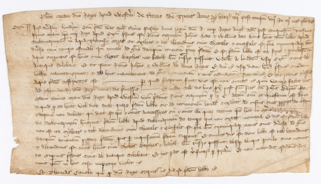 Contemporary extract from the Plea Roll of King's Bench recording an action against Richard Marmyon, John Rede and William ate Dene for building a lock at Stoke Marmion, Oxon, and causing damage to Thames transport.