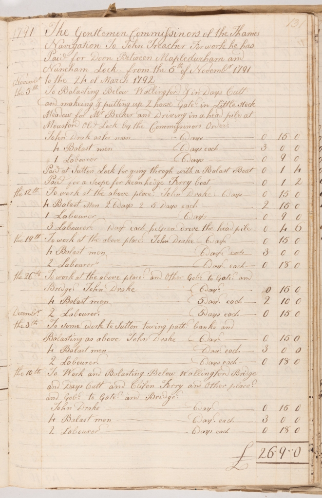 Handwritten accounts totaling £26 and 9 shillings. Expenses relate to staffing. These include Balast men and Labourers.