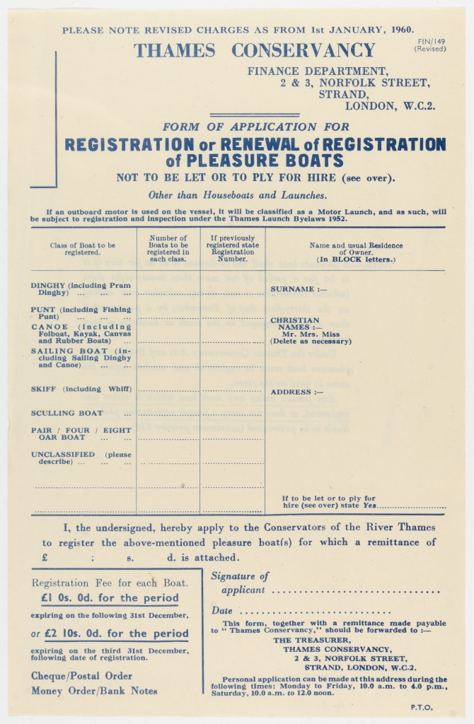 Blank printed registration form for the registration or renewal of registration of pleasure boats including table to complete and place for signature.