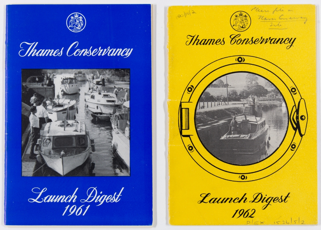 Two covers of Thames Launch Digests, 1961 and 1962, side by side, left cover is royal blue and featuring a black and white photograph of six boats near a river mooring, right is bright yellow and features a photograph of a single boat near the edge of a canal within a drawing of porthole.