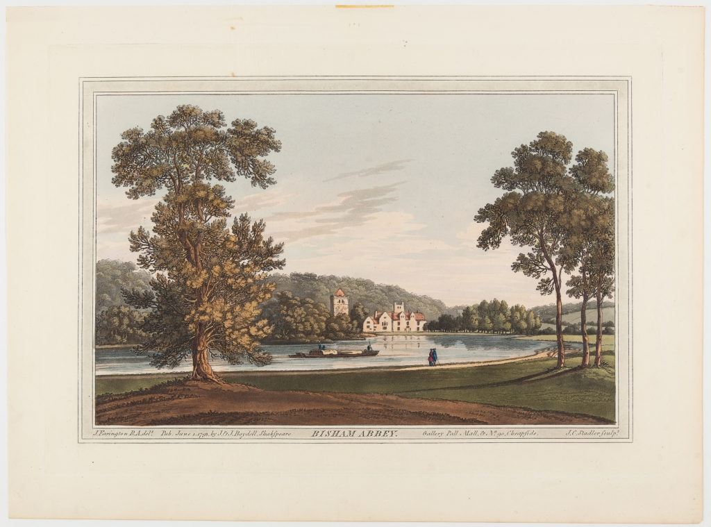 Coloured engraving showing a riverside scene with two large trees in the foreground and a white religious house belonging to Bisham Abbey in the background, two individuals are walking close the river edge and one boat is in the centre.