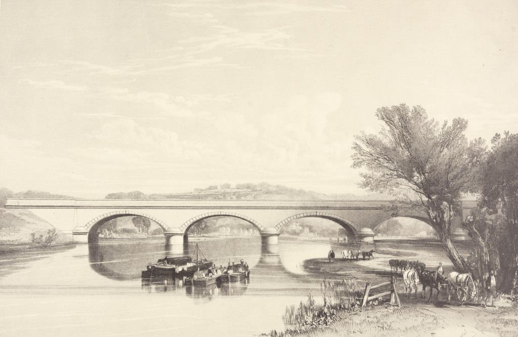 Black and white print engraving of Gatehampton Viaduct. Shows an arched bridge on the River Thames with three small wooden boats on the river. Four men and grazing horses are on the river bank.