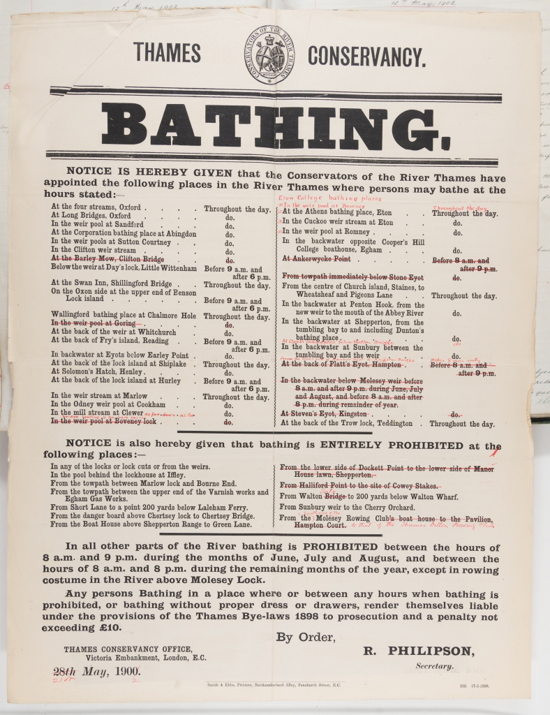 Printed bathing notice advising members of the public to only bathing at suitable sites along the river.