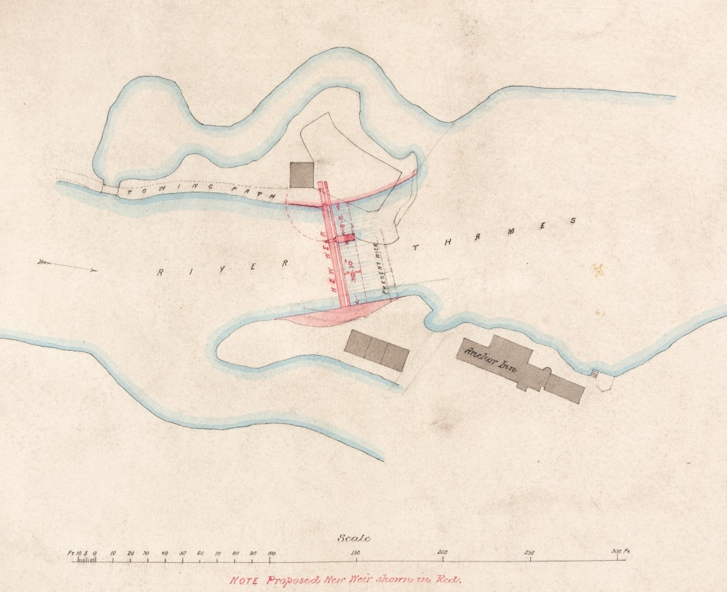 Coloured plan with scale showing proposed new weir at Eaton.
