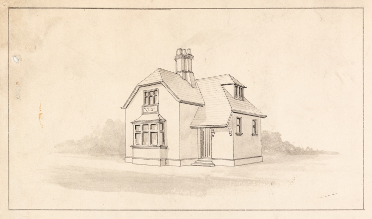 Black and white line drawing of a two storey house.