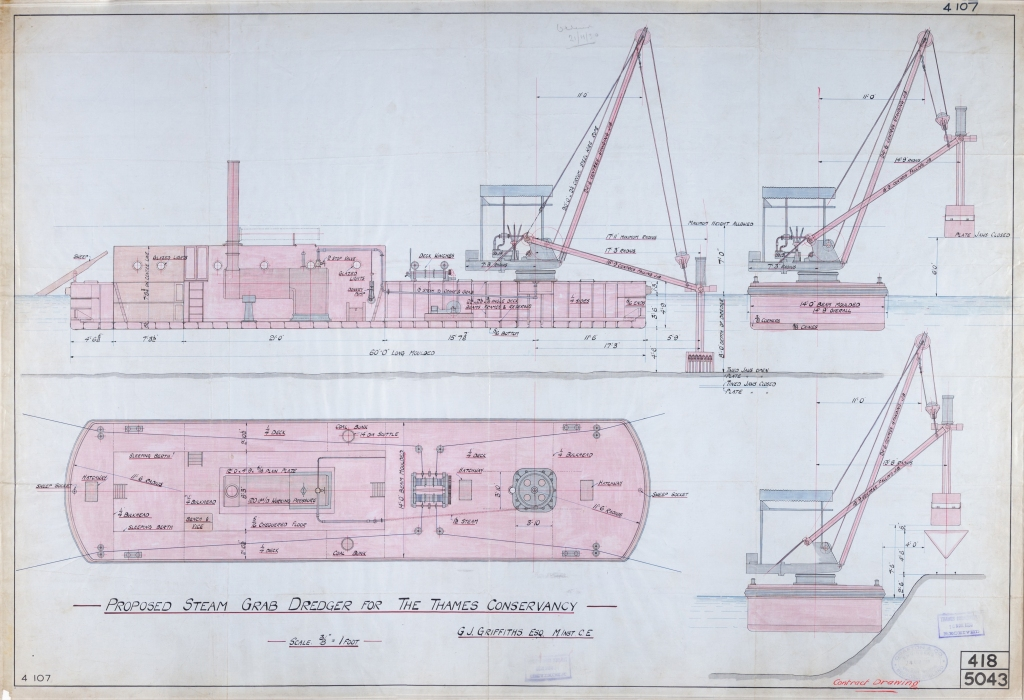 Coloured contract drawing for proposed steam grab dredger for the Thames Conservancy showing a Birdseye view, profile, and drawing to illustrate motion of the equipment.