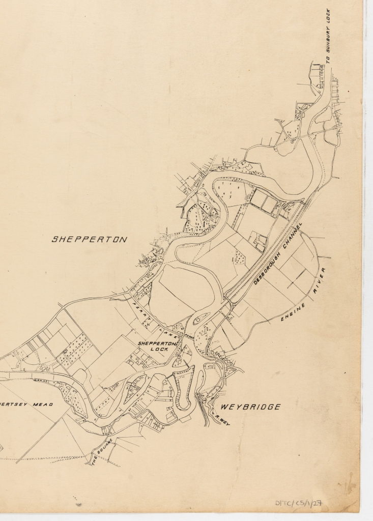Line drawing plan showing the Desborough Channel, Engine River, Shepperton Lock, Ferry Lane and The Bourne between Shepperton and Weybridge.