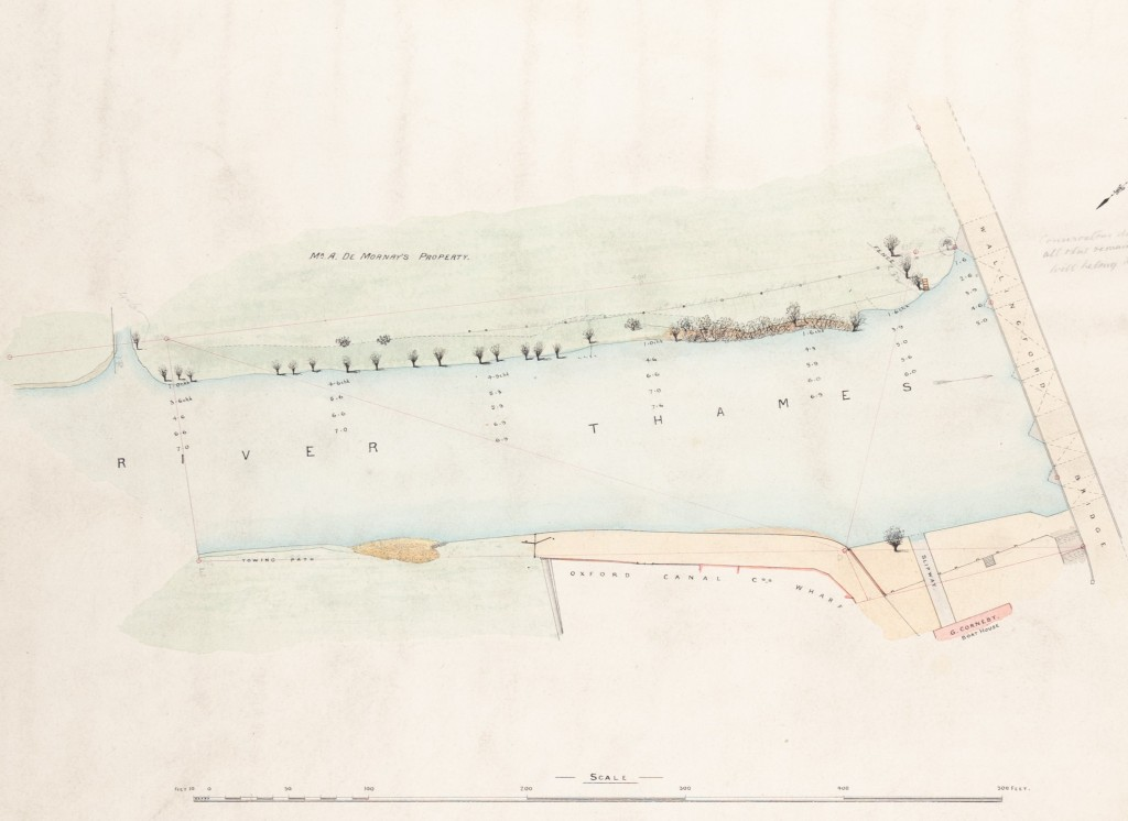 Colour plan of the tree-lined River Thames showing Wallingford Bridge, land described as 'Mr A. De Mornay's property', towing path, Oxford Canal Co.'s Wharf, slipway, and G. Corneby Boathouse.