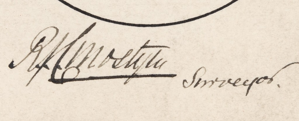 Extract from plan showing the signature of 'RJC Mostyn Surveyor.'