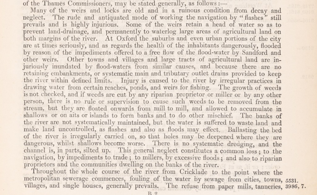 Typescript extract from thereport of theRoyal Commissionappointed to inquire into the best means of preventing the pollution of rivers which outlines the regular injuries caused to the river.