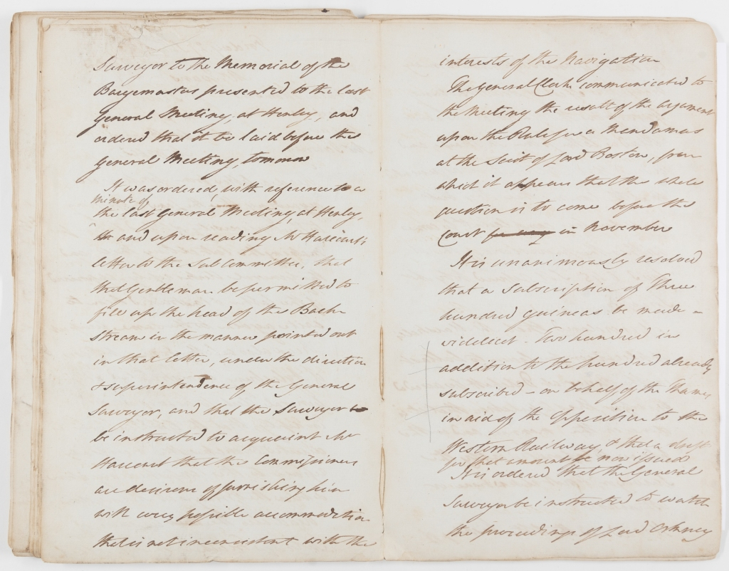Double page extract of the minutes of Thames Navigation Commission General Committee Meetings explaining how the Commission raised 300 guineas to oppose the Great Western Railway.