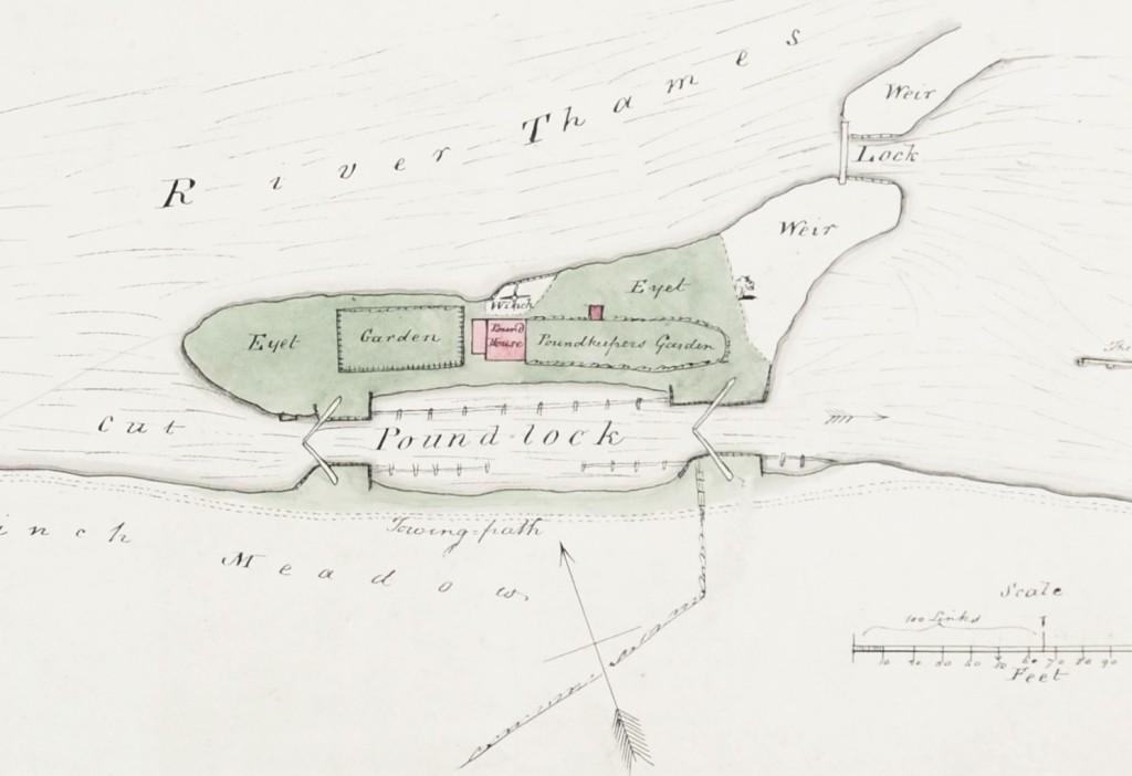 Colour plan of Hambledon Pound Lock showing Towing path, Eyet [island], Pound Lock, Pound House, Garden, winch, cut, meadow, Weir and Weir Lock.