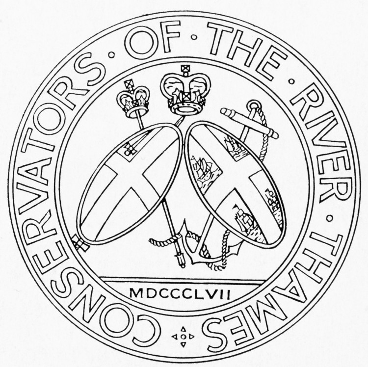 Black and white circular logo with 'Conservators of the River Thames' around the outside edge. In the centre are two shields in front of a sceptre and an anchor with rope. The left shield has a single sword on it and a cross. The right shield has four boats and a cross on it. Above the shields, at the centre, is a crown. Below the shields is 'MDCCCLVII'.