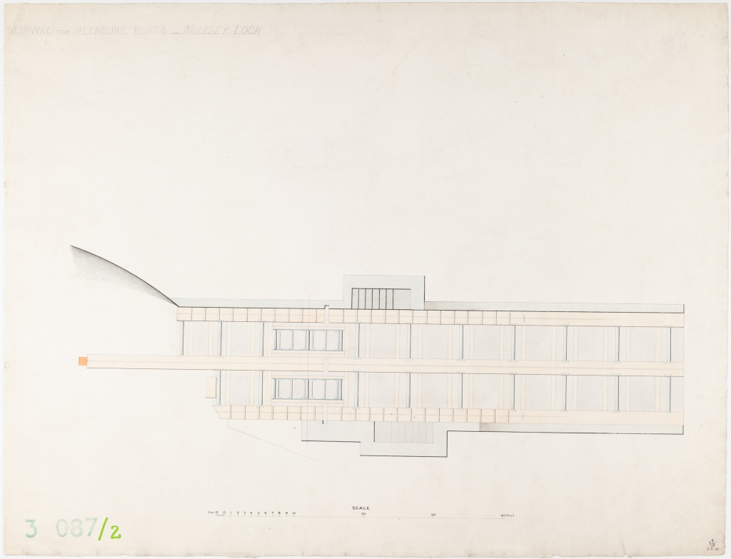 Coloured plan of the profile of boat slipway for pleasure boats for Molesey Lock with scale.