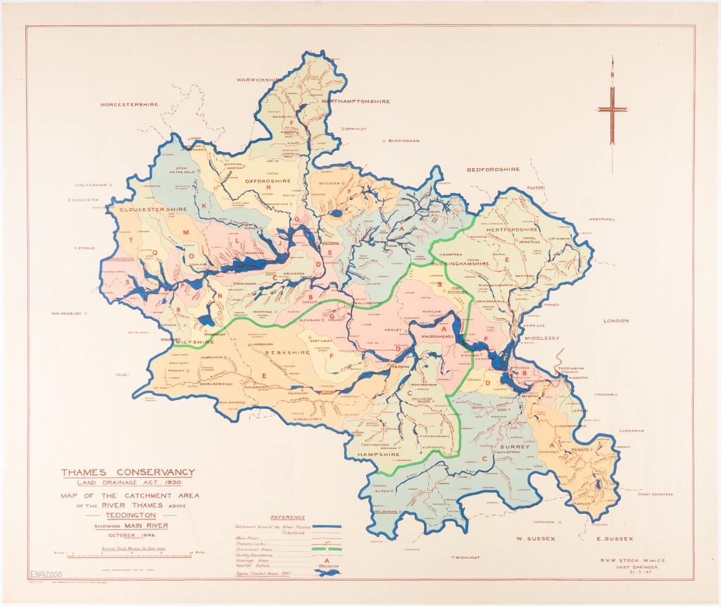 Coloured map showing the Thames Conservancy catchment area and the areas affected by the 1947 flood within the Thames Valley.