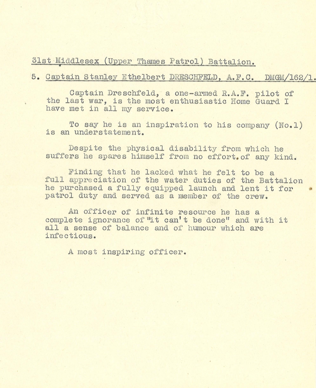Typewritten recommendation for Captain Stanley Ethelbert Dreschfeld