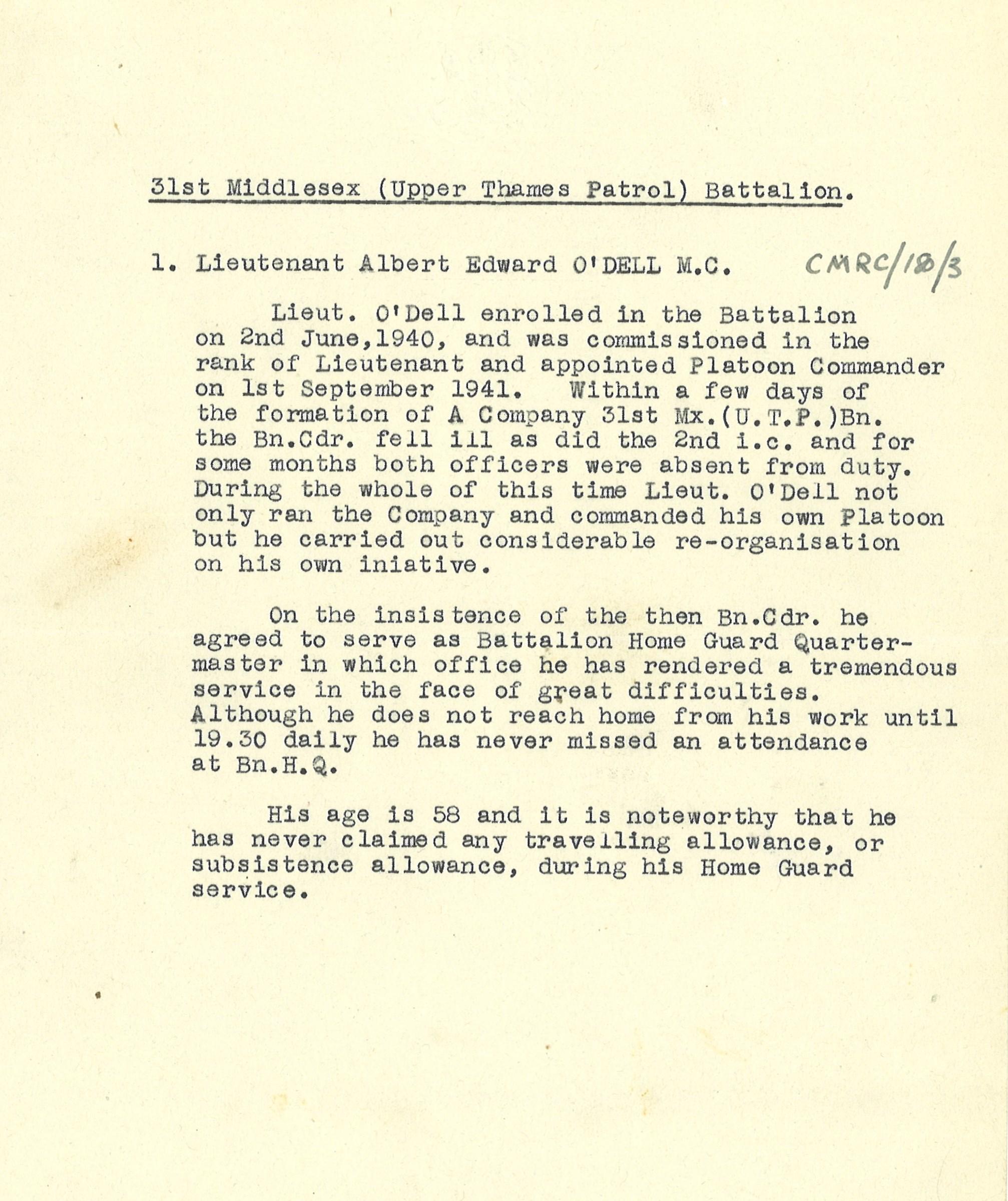 Typewritten recommendation for Lieutenant Albert Edward O'Dell