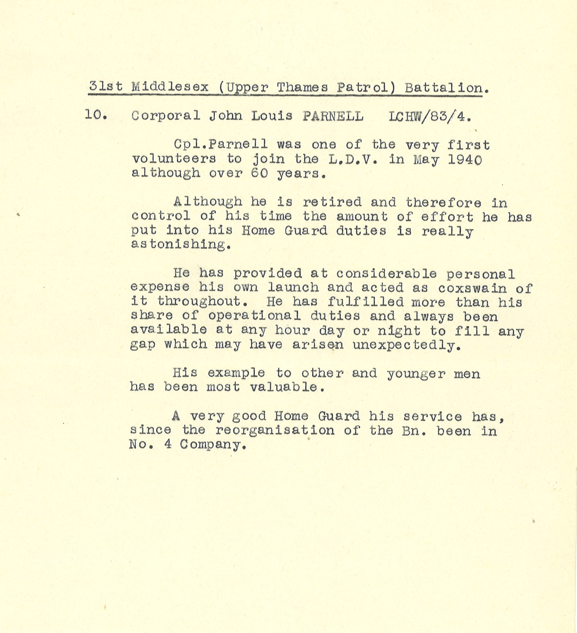 Typewritten recommendation for Corporal John Louis Parnell