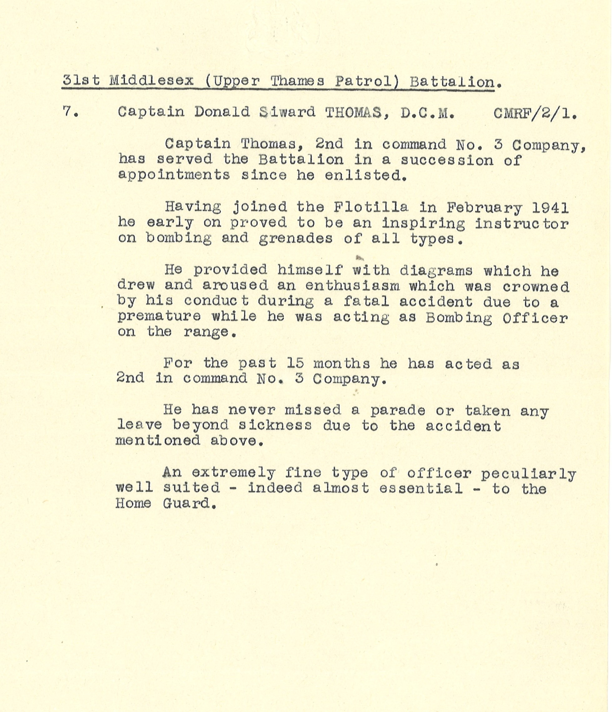 Typewritten recommendation for Captain Donald Siward Thomas