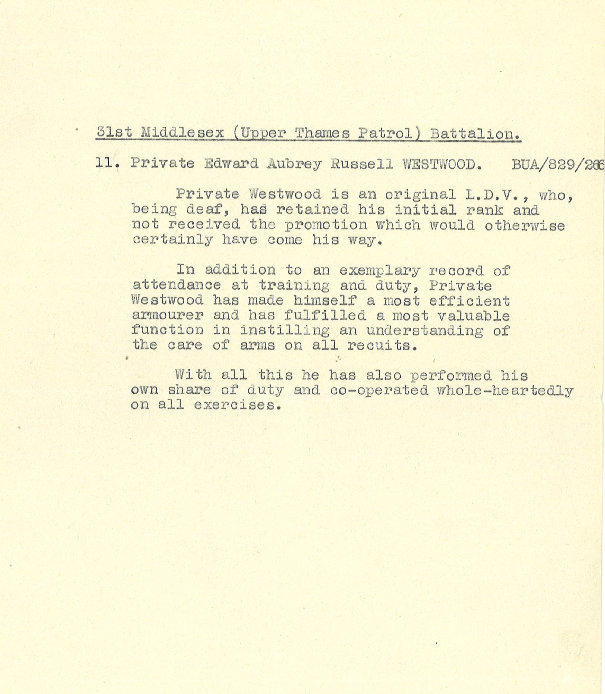 Typewritten recommendation for Private Edward Aubrey Russell Westwood