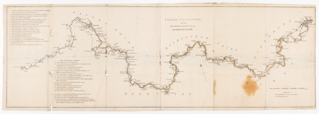 Map of the river showing Thames Navigation Commission improvements, 1791. Map shows Oxfordshire, Buckinghamshire, Middlesex, Berkshire and Surrey from Lechlade (Oxfordshire) to London.
