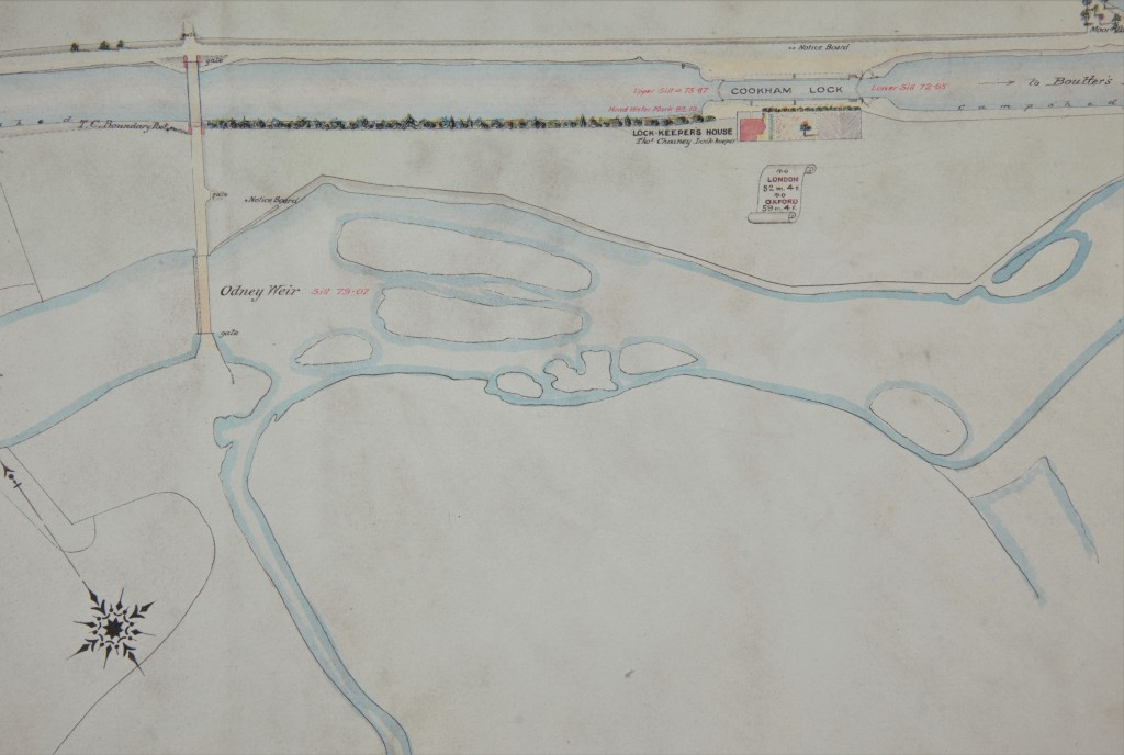 Hand-drawn colour plan showing Cookham Lock and Odney Weir. Includes lock-keeper's house.