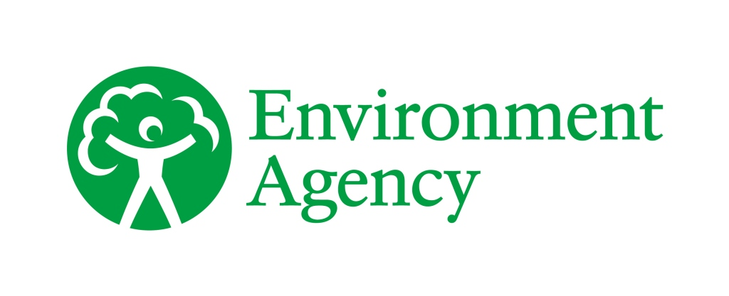 Green circular logo showing a white stick figure with arms up and leaves above it to signify a tree. 'Environment Agency' is in green font next to it.