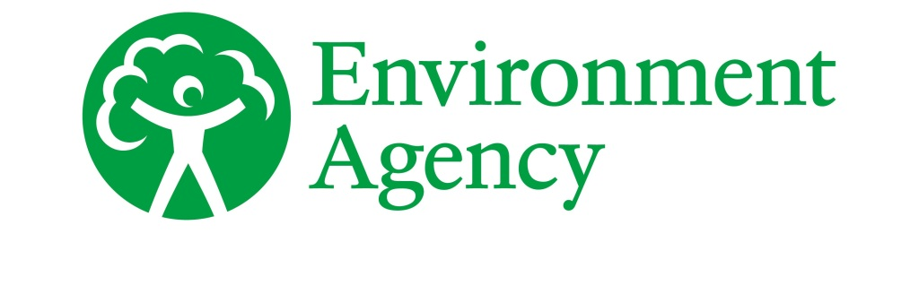 Logo: Green circular symbol showing a white stick figure with arms up and leaves above it to signify a tree. 'Environment Agency' is in green font next to it.