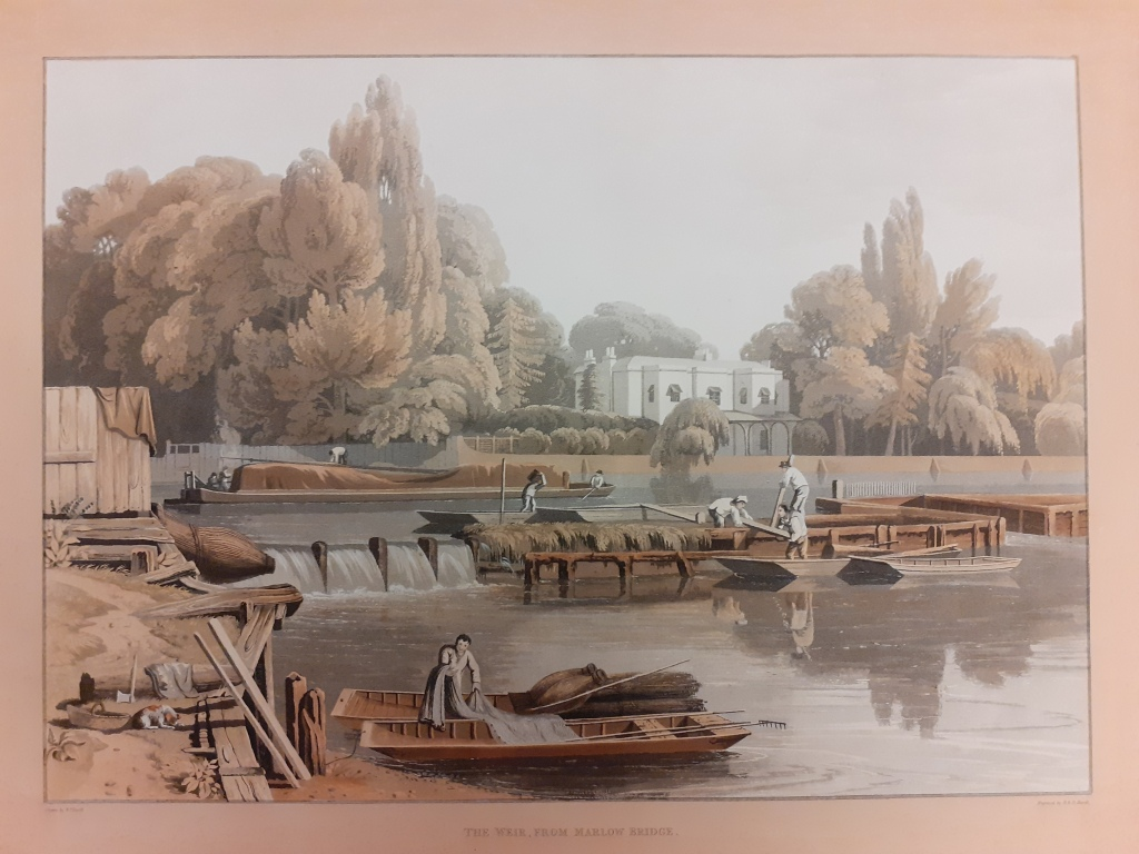 Coloured engraving of Marlow Weir with men carrying out improvements being made to the wier structure by workmen.