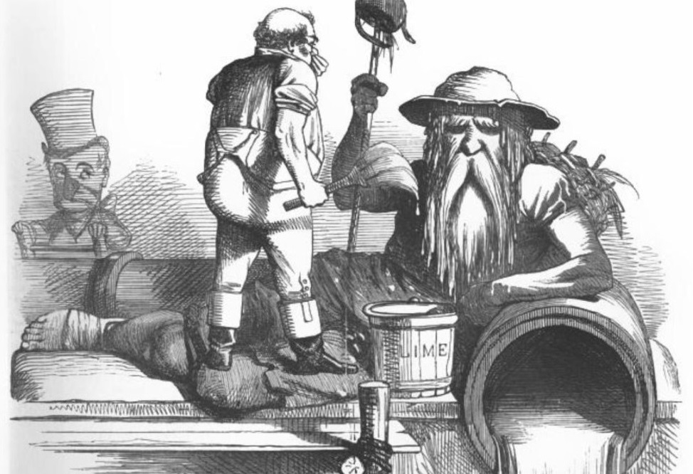 Black and white drawing of a large old, bearded man with a tin bucket hat representing 'Father Thames' leans his forearm on a water pipe with water flowing out, a smaller individual stood facing him holds a paint brush and has a bucket which reads: Lime beside. In the background is a clown like person with a top hat and exaggerated nose on a ladder is peering over the edge.