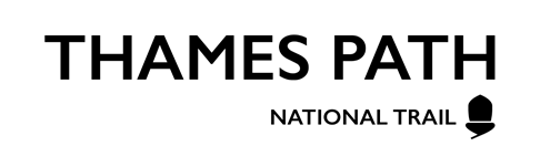 Logo: 'Thames Path' and 'National Trail' in black capitalised font with a black acorn symbol on the right.