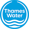 A blue circular logo with 'Thames Water' at the top and water symbol at the bottom.